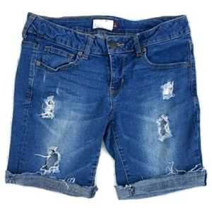 SO distressed jean shorts